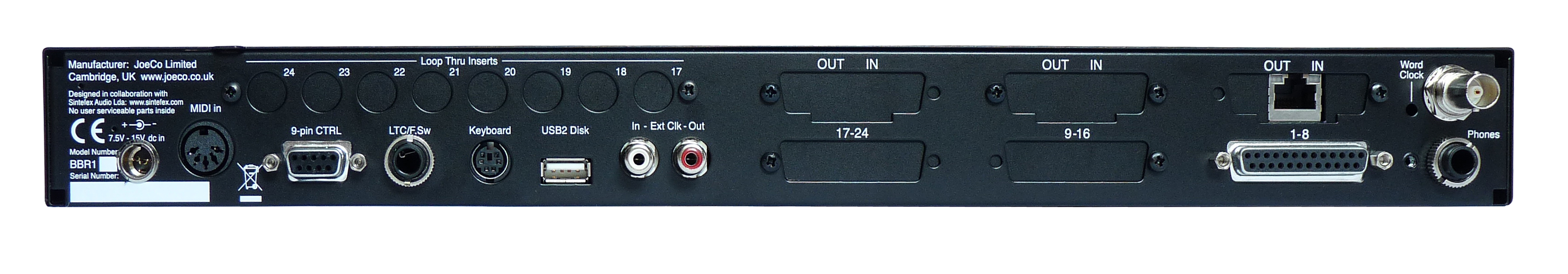 JoeCo Blackbox Recorder - BBR1DANTE - Rear Panel - HR