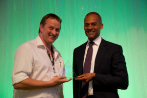 Joe Bull receiving PLASA Award for Innovation